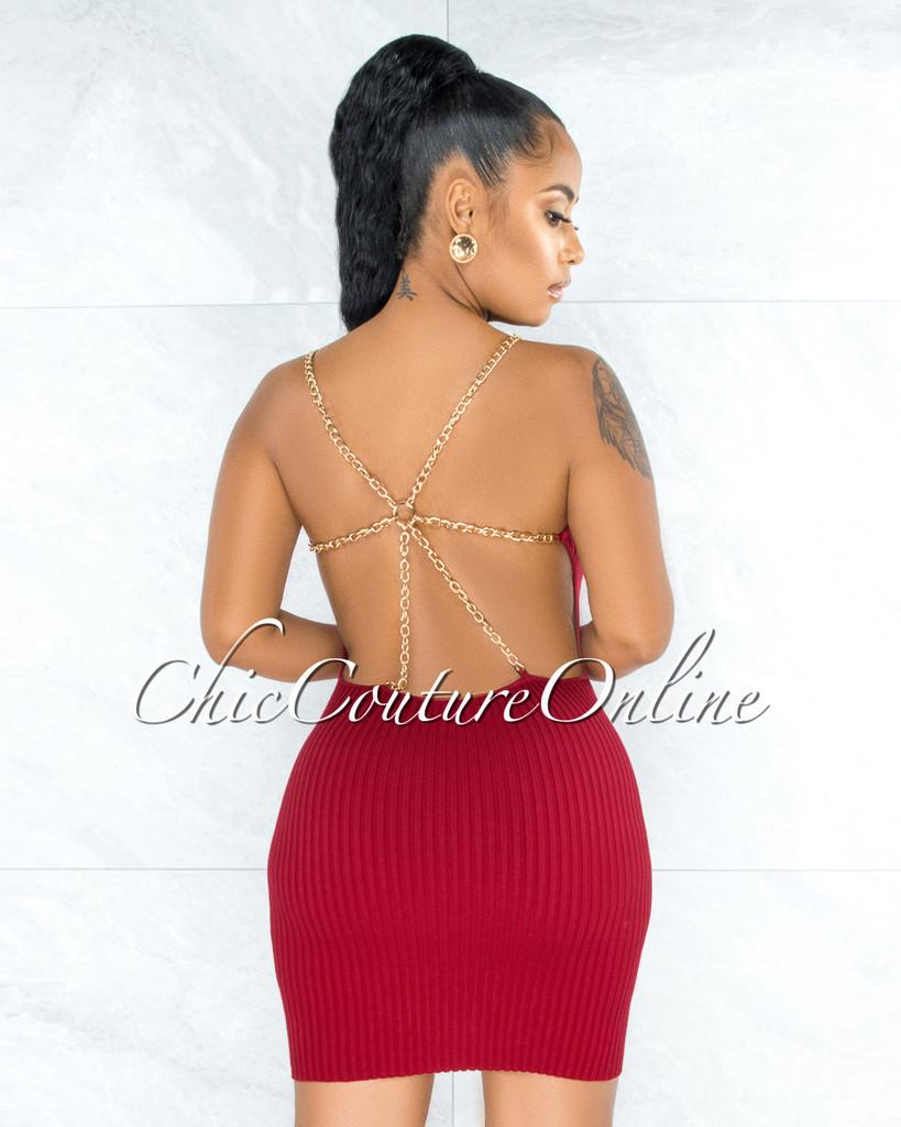 Auren Burgundy Red Open Back Gold Link Straps Accent Dress