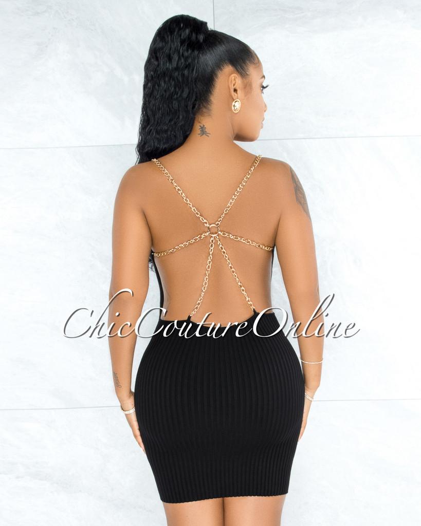 Auren Black Open Back Gold Link Straps Accent Dress