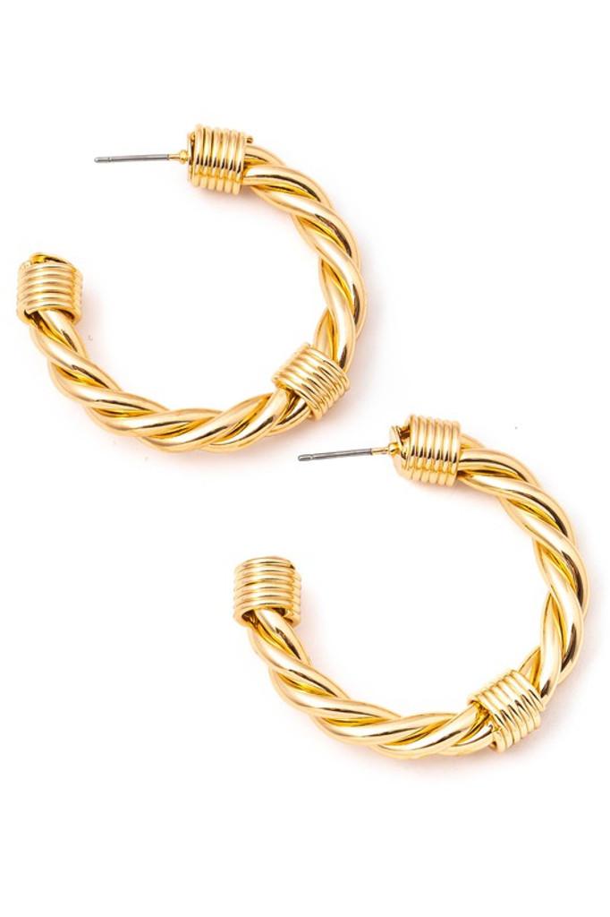 Saylor Gold Wire Twist Hoop Earrings