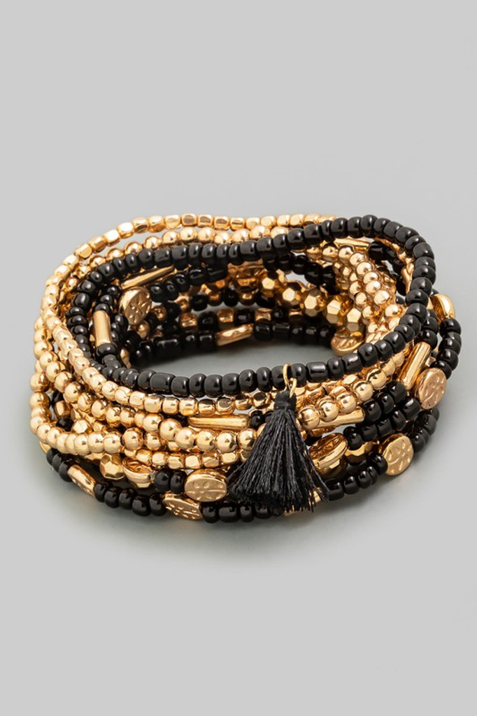 Monica Black and Gold Multi Beaded Tassel Bracelet Set