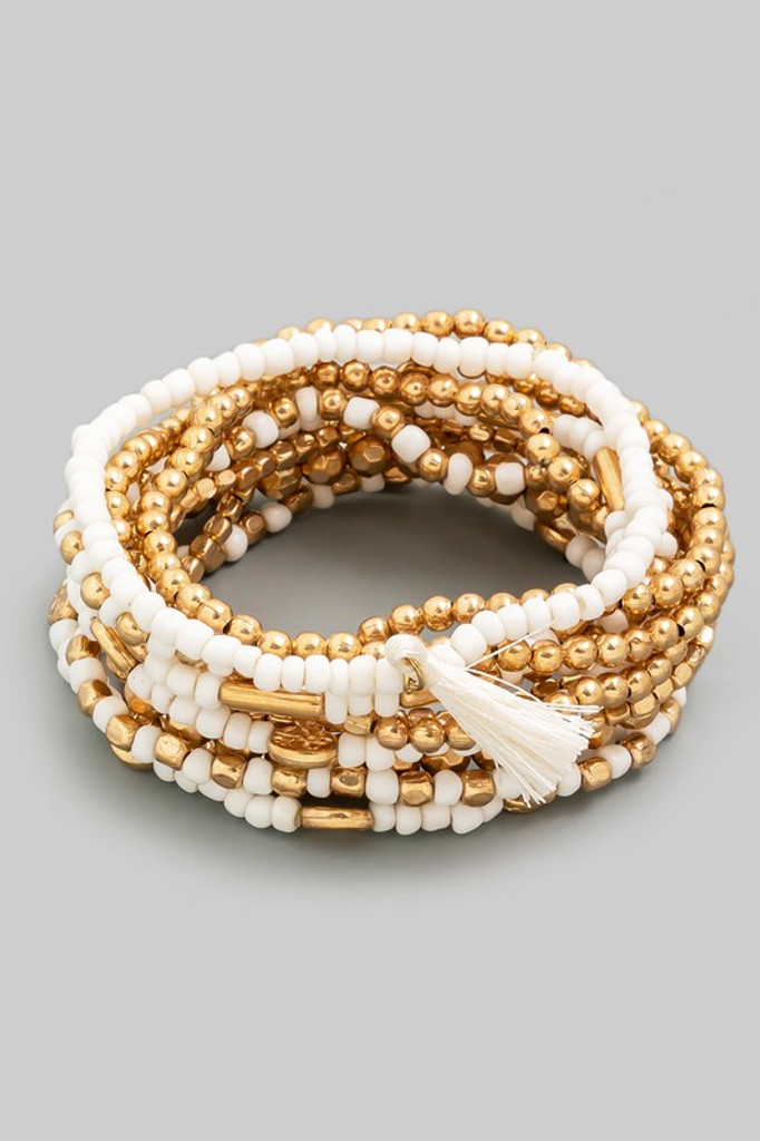 Monica White and Gold Multi Beaded Tassel Bracelet Set
