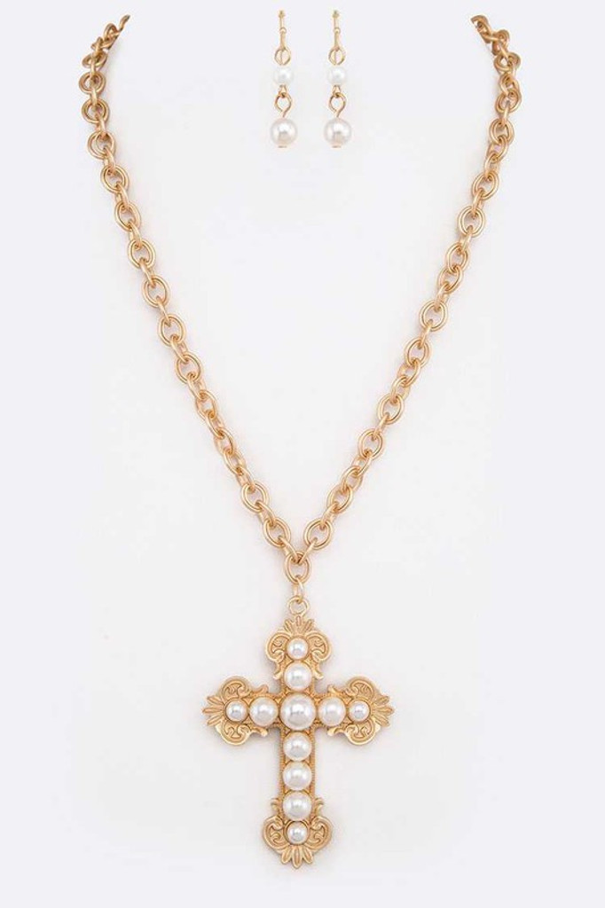 Satya Gold & Pearl Cross Pendant Necklace Set
