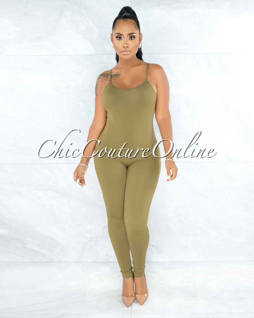 Eliam Olive Green Seamless Body-Con Jumpsuit