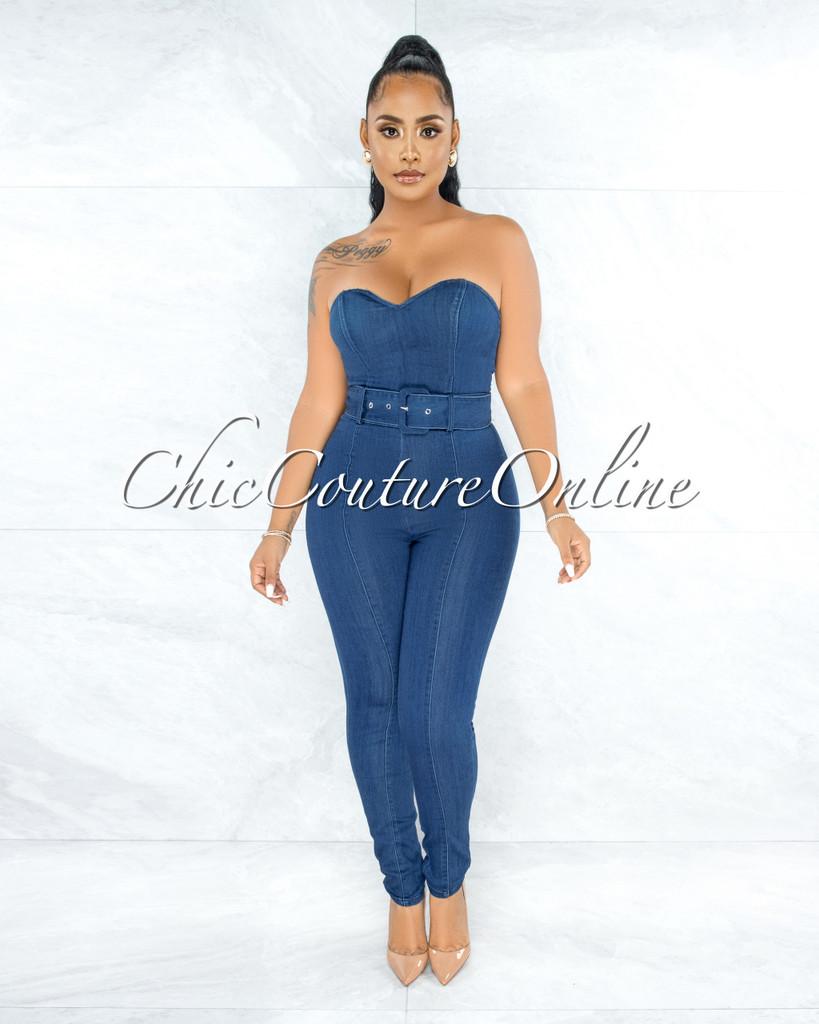 Styla Dark Blue Denim Strapless Belt Jumpsuit