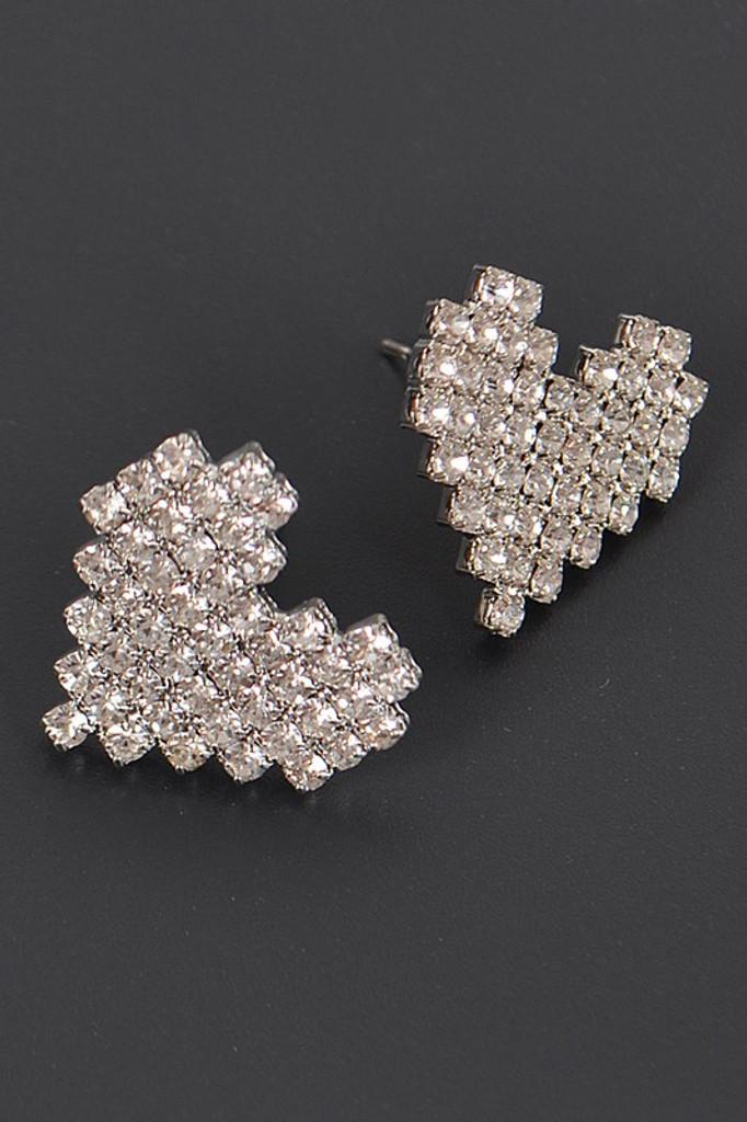 Blum Heart Shape Rhinestone Stud Earrings