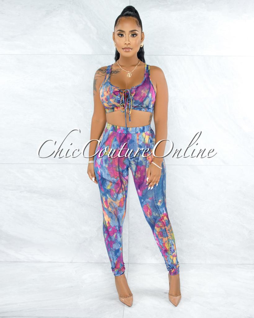 Anarosa Denim Print Lace-Up Top Two Piece Set