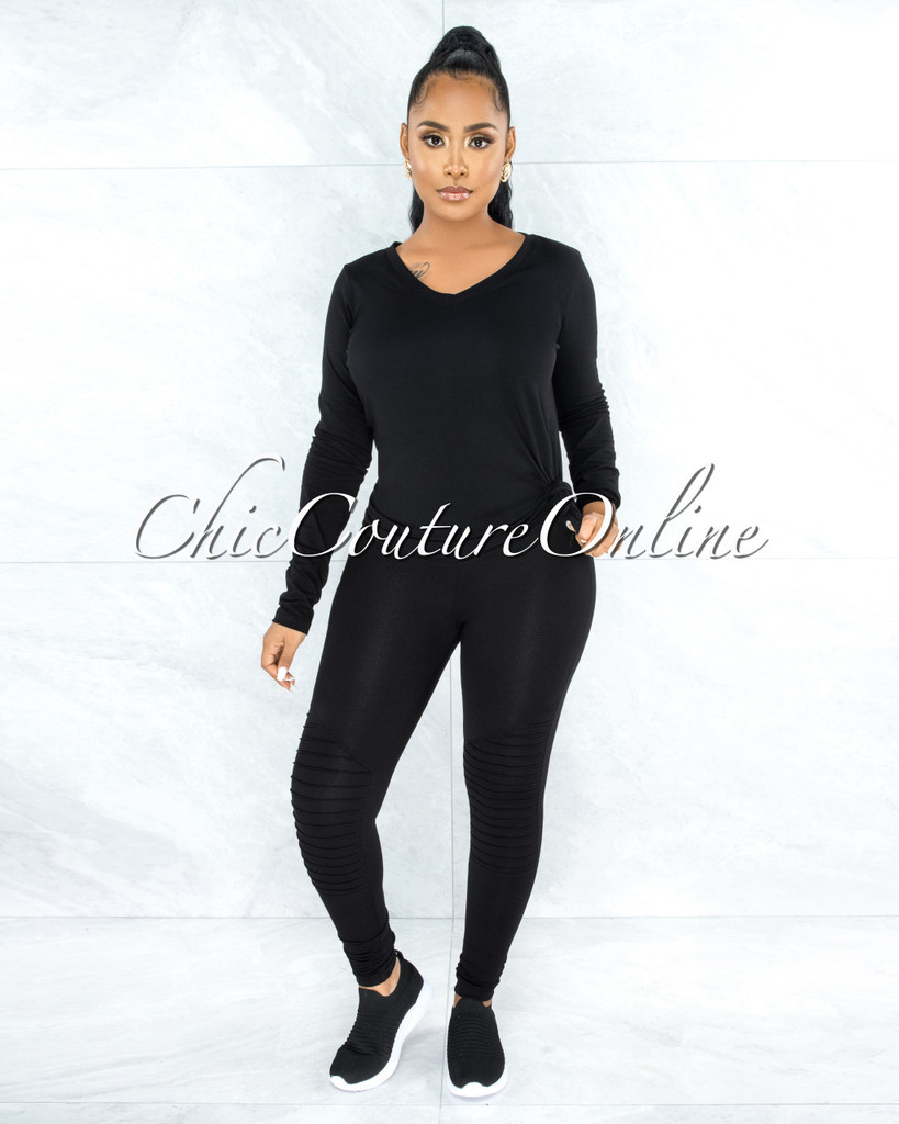 Dearoma Black Long Sleeves Top & Leggings CURVY Set