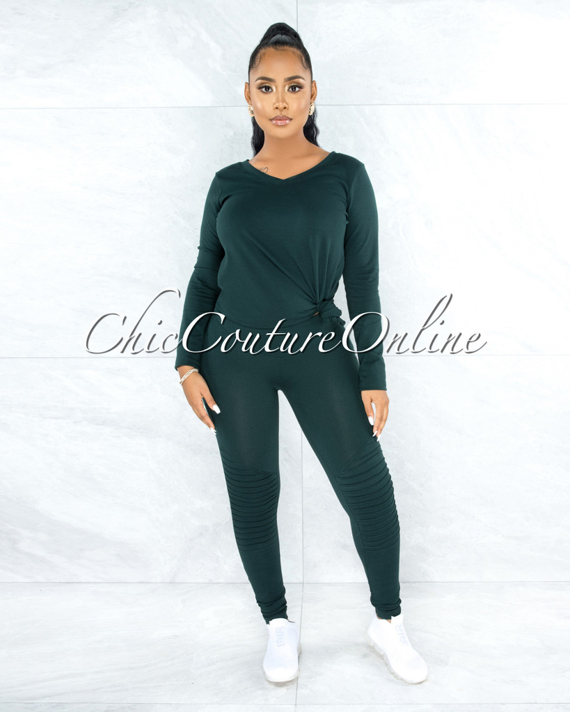 Dearoma Hunter Green Long Sleeves Top & Leggings Set