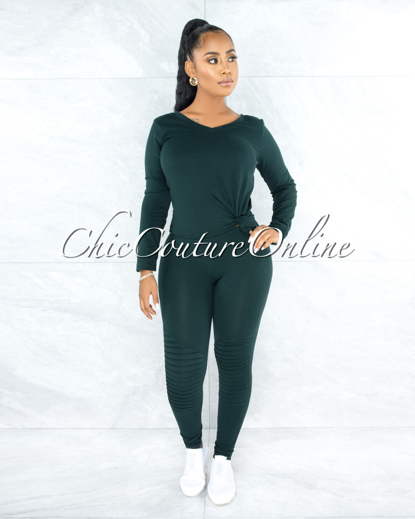 Dearoma Hunter Green Long Sleeves Top & Leggings CURVY Set