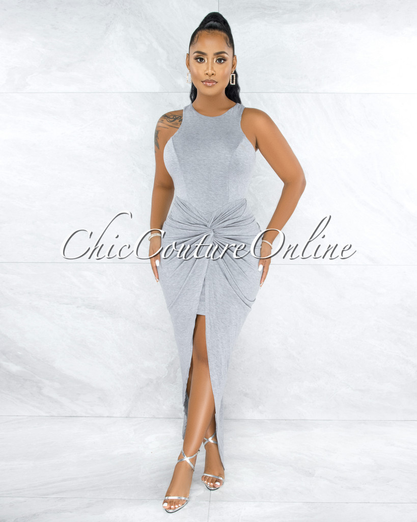 Andeana Grey Draped Knot Bottom Overlay Hi-Lo Dress