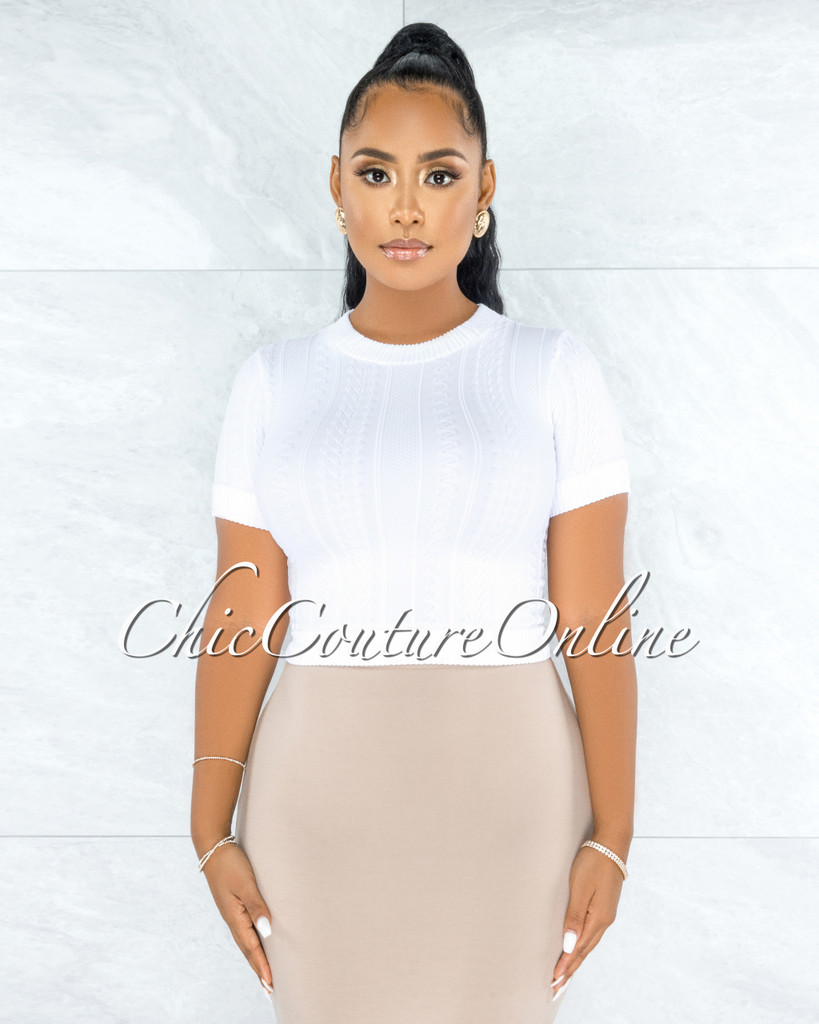Hyman White Cable Knit Texture Crop Top