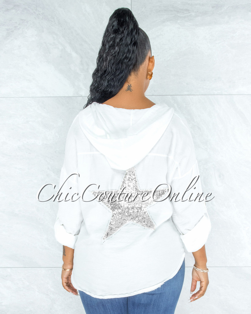 Decimus Off-White Silver Sequins Back Star Accent Hoodie Shirt