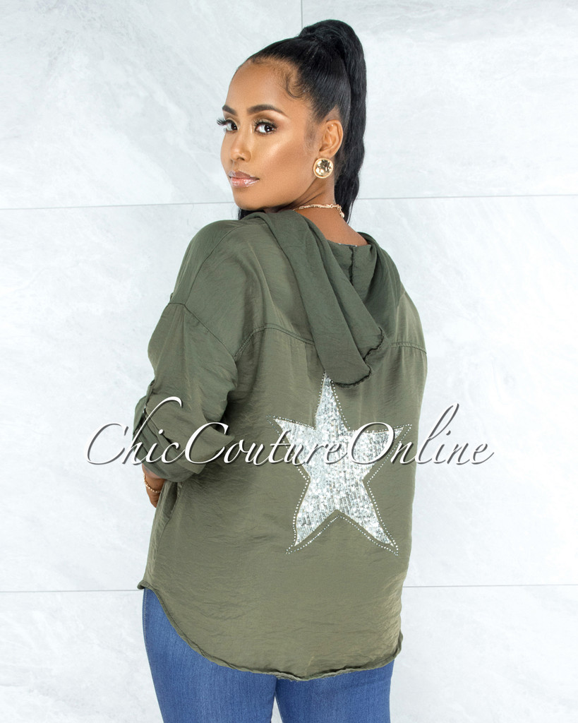 Decimus Olive Green Silver Sequins Back Star Accent Hoodie Shirt