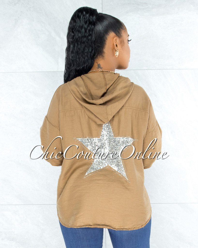 Decimus Mocha Silver Sequins Back Star Accent Hoodie Shirt