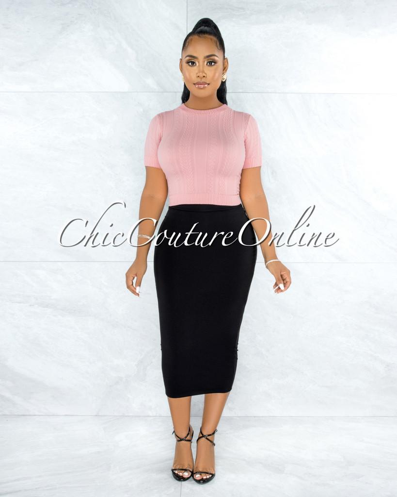 Aisling Black Pencil Midi Skirt