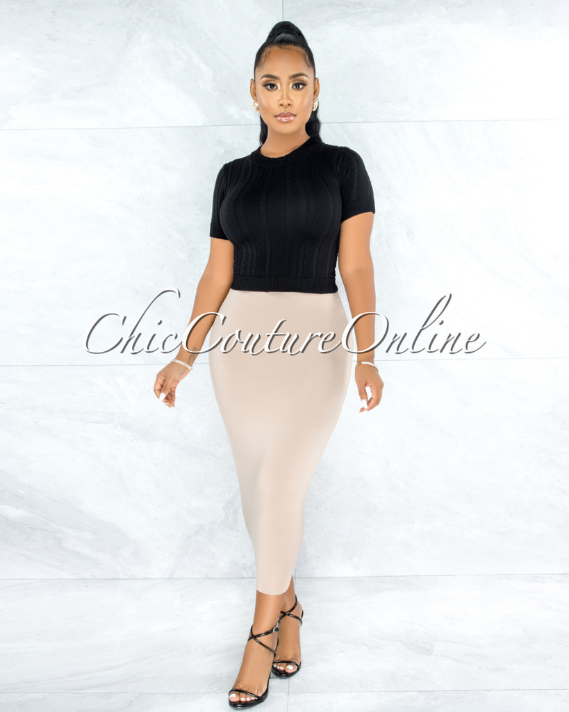 Aisling Nude Pencil Midi Skirt