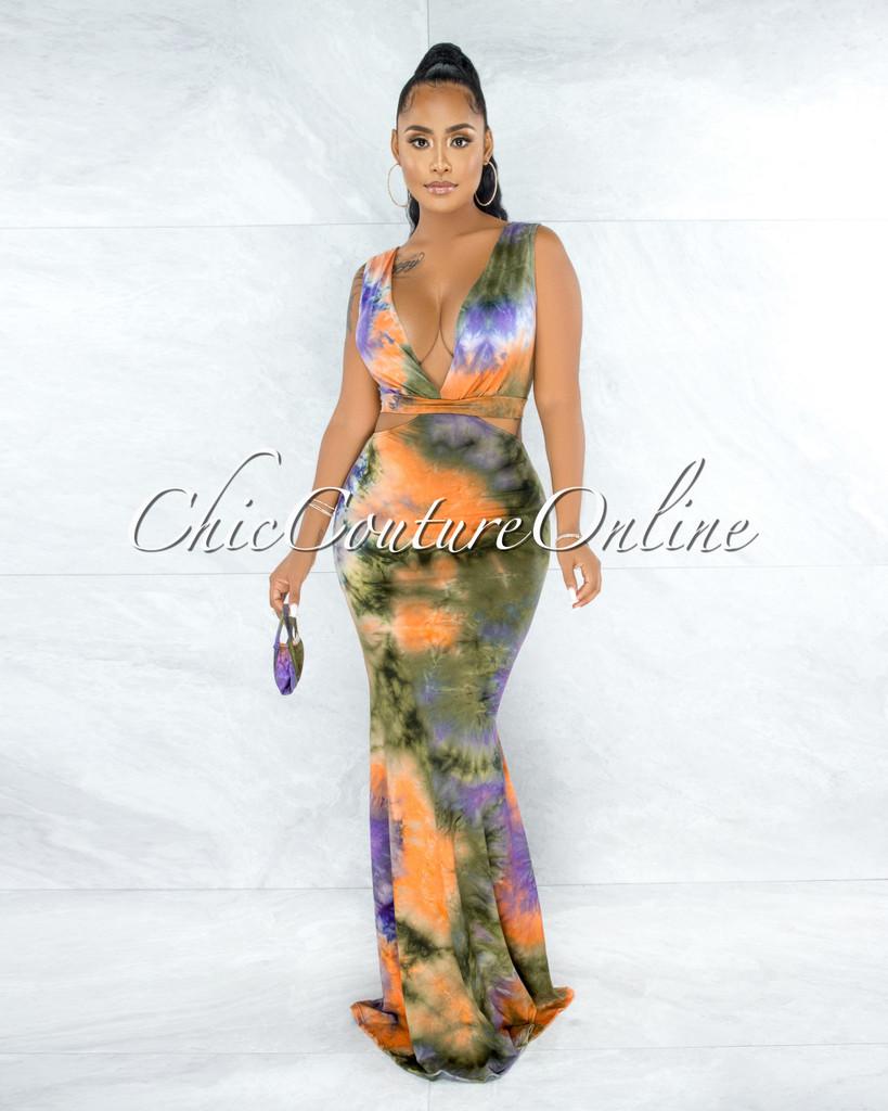 Artesia Olive Orange Tie-Dye V-Neck Back Lace-Up Maxi Dress w Mask