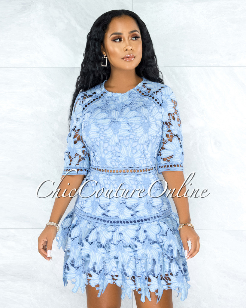 Griselda Baby Blue Crochet Embroidery Ruffle Skater Dress