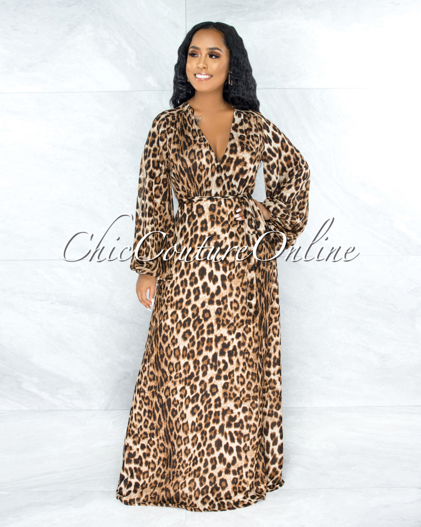 Hisolda Leopard Print Wrap Maxi Dress