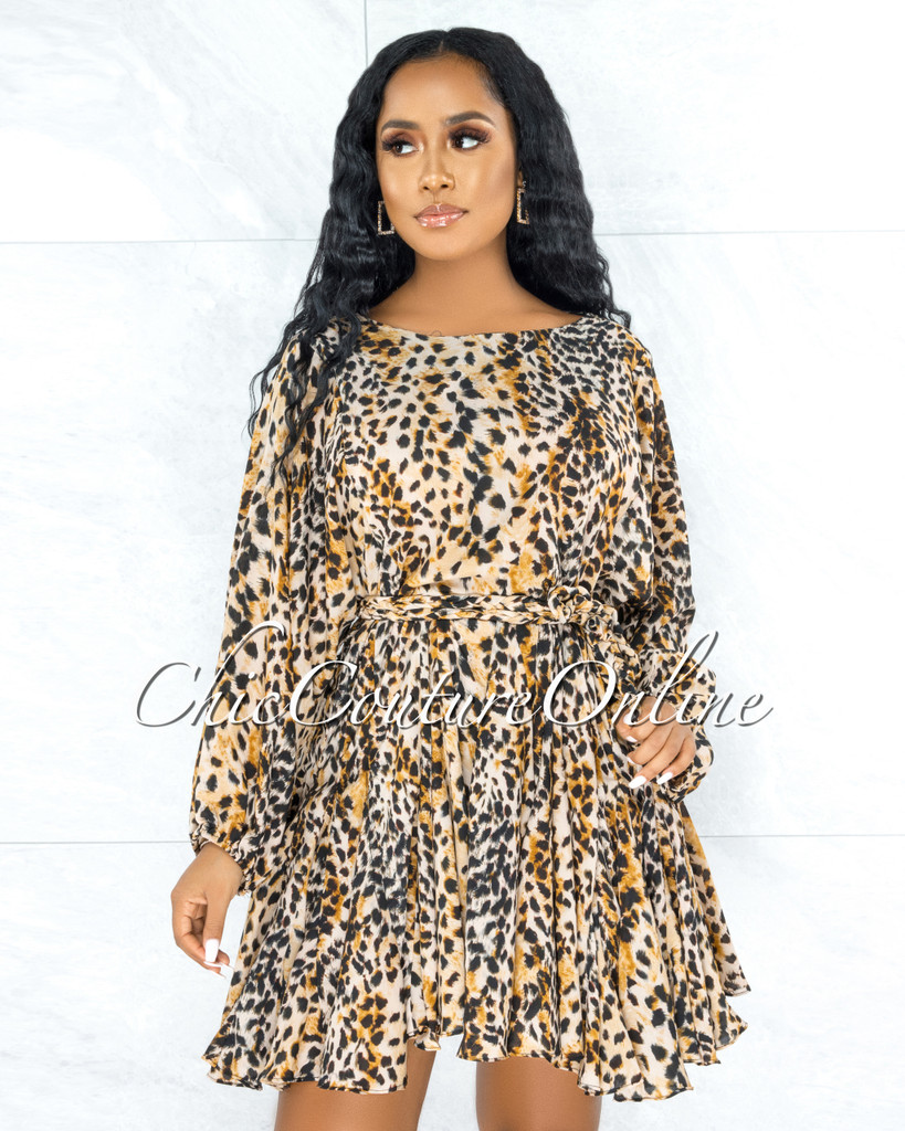 Rajani Leopard Print Braid Belt Pleated Bottom Skater Dress