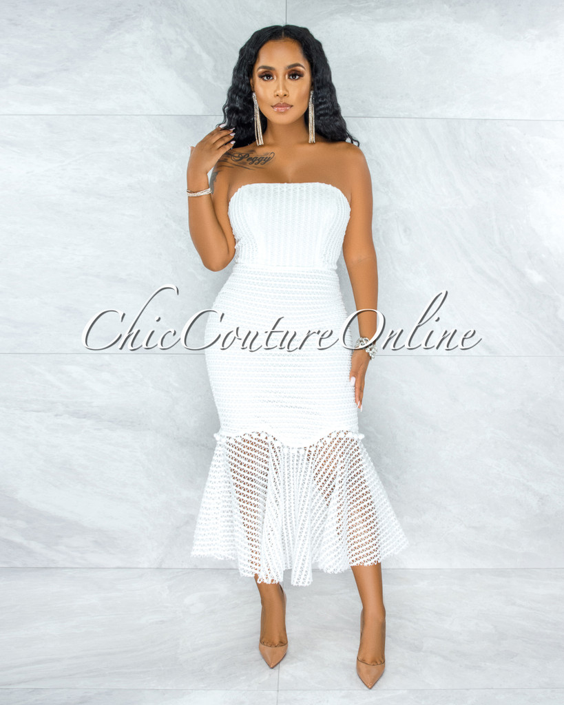 Joanna Off-White Lattice Crochet Midi Ruffle Dress