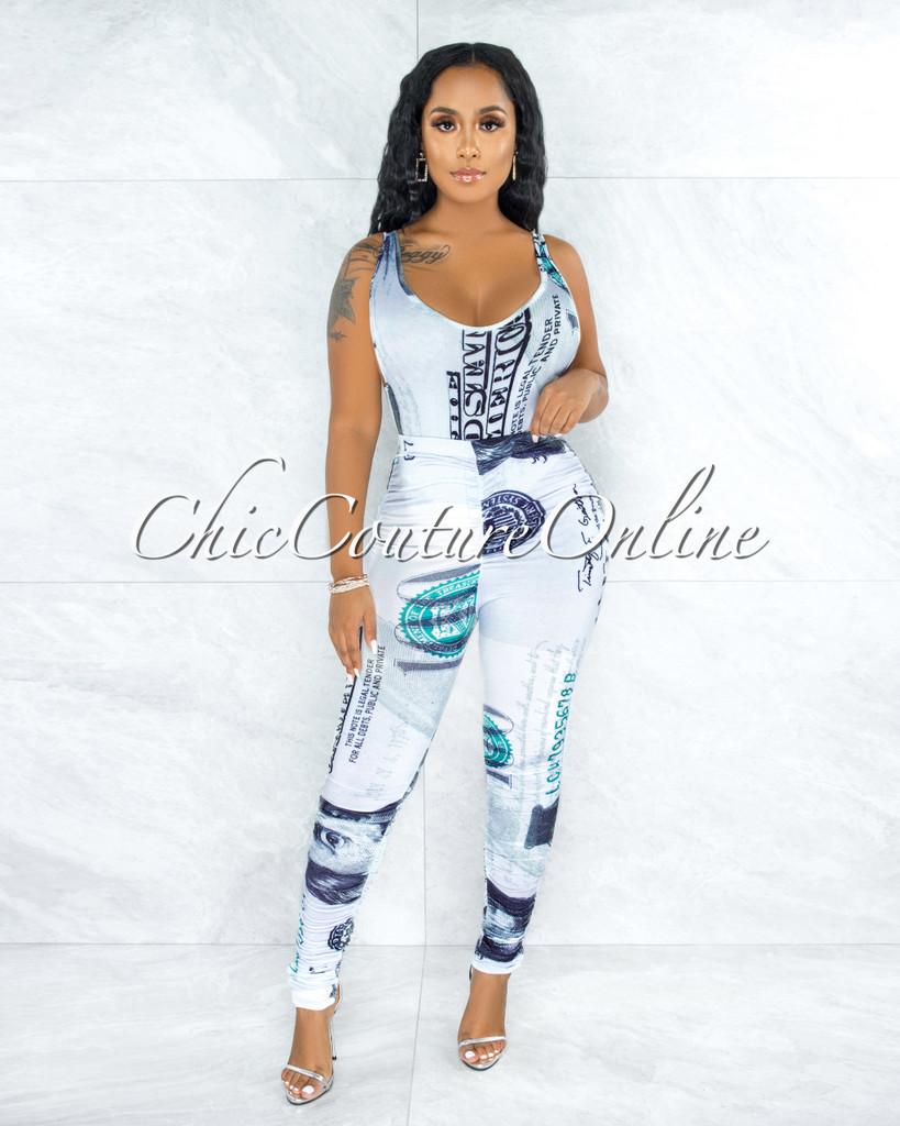 Ealga White Money Print Bodysuit Ruched Pants Set