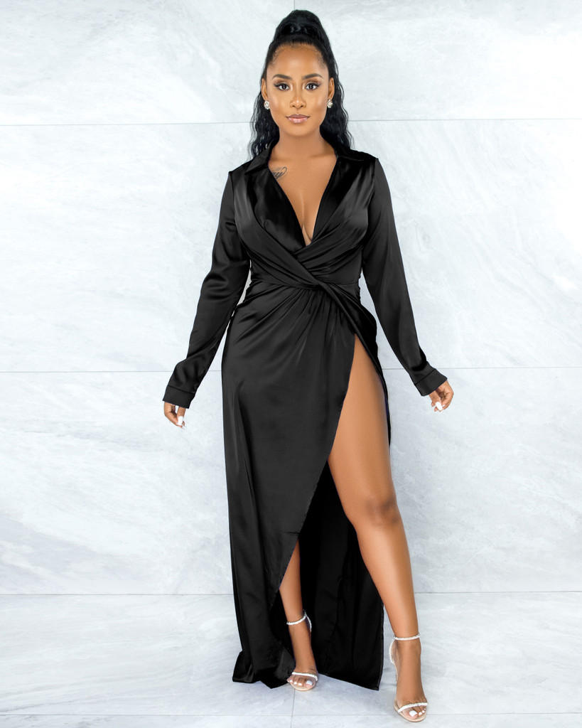 Gayner Black Dramatic High-Low Slit Silky Dress