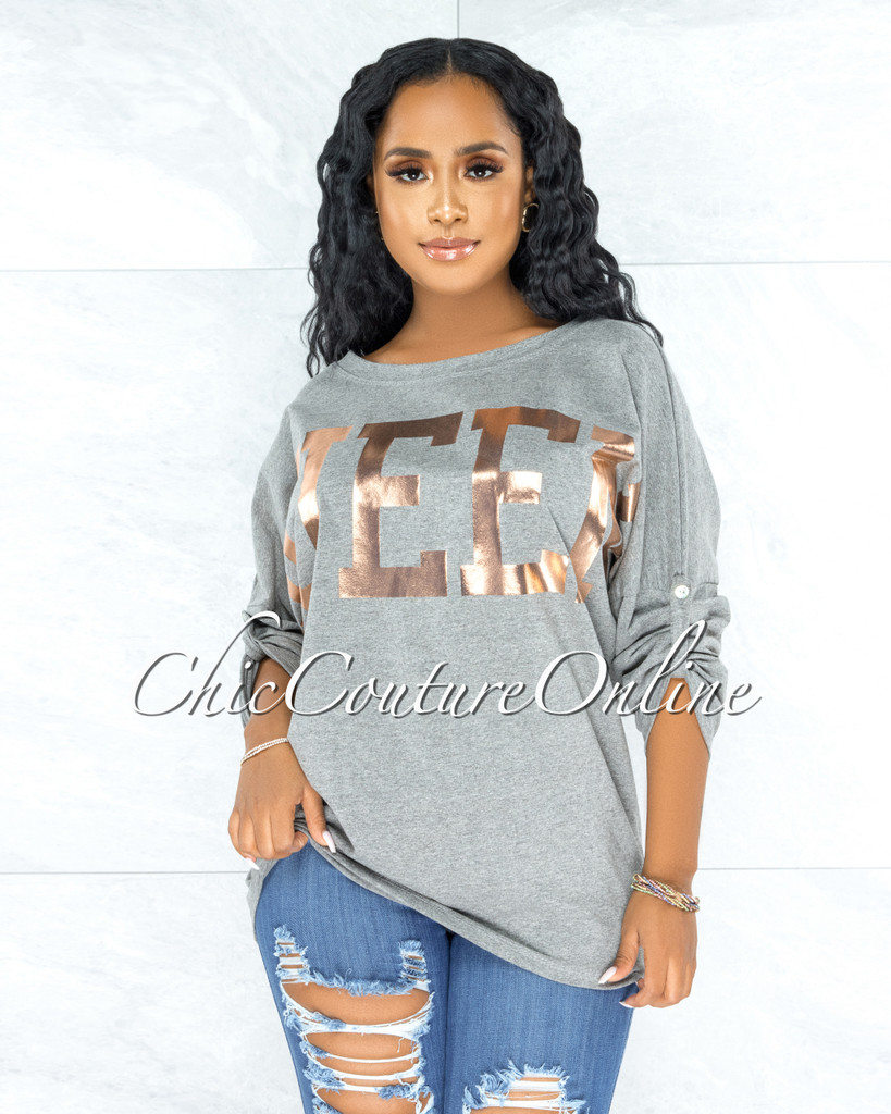 Rosie QUEEN Grey Rose Gold Graphic Over-sized T-Shirt