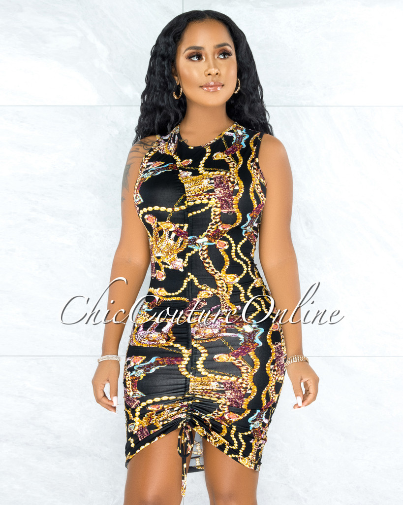 Maite Black Multi Color Print Ruched Front Dress w Mask