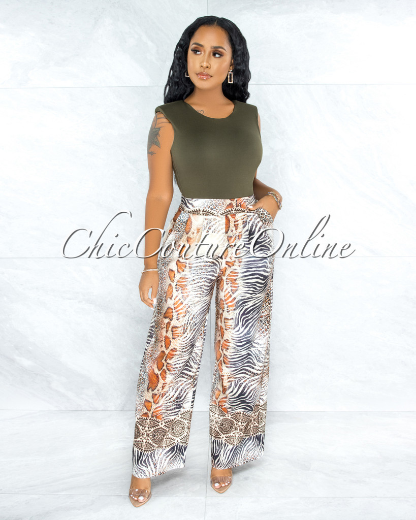 Argie Ivory Multi Safari Print Pleated Wide Pants