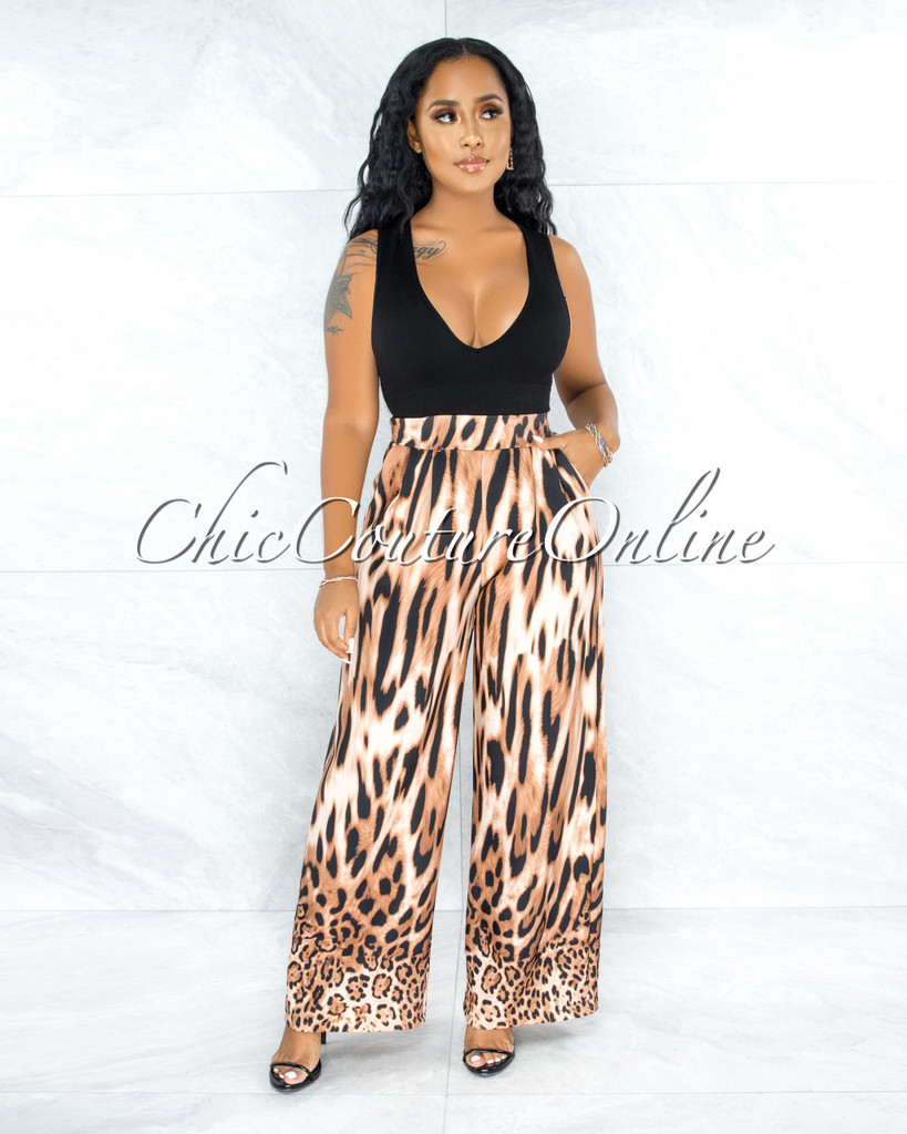 Eleazar Brown Leopard Print Pleated Wide Pants