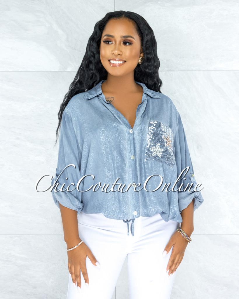 Kaida Slate Blue Silver Shimmer Sequins Stars Pockets Shirt