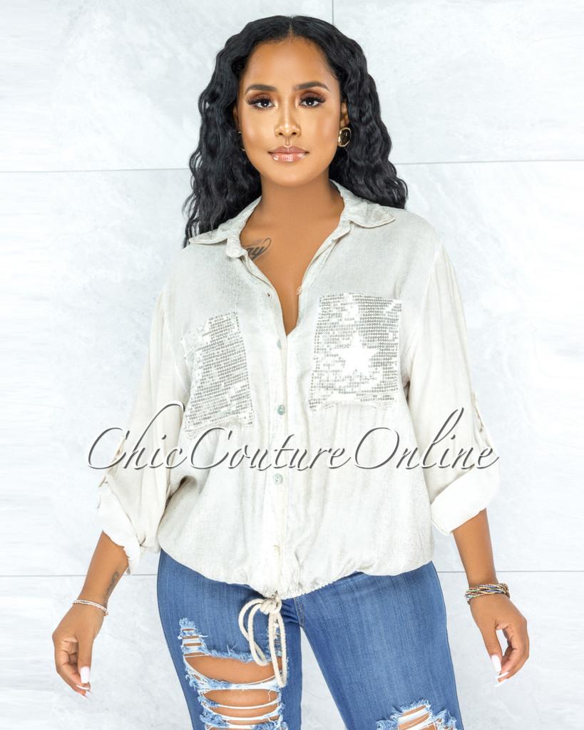 Kaida Cream Silver Shimmer Sequins Stars Pockets Shirt
