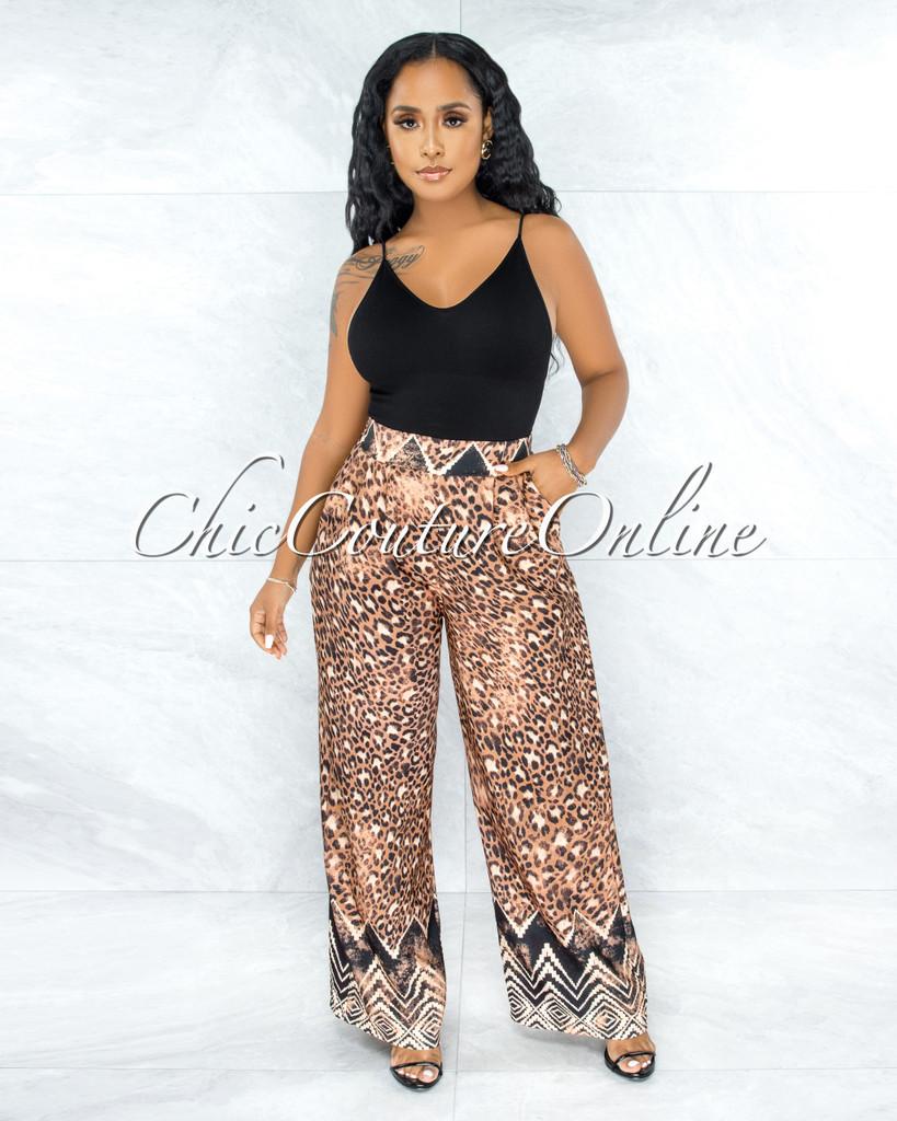 Cobham Leopard Tribal Print Pleated Wide Pants