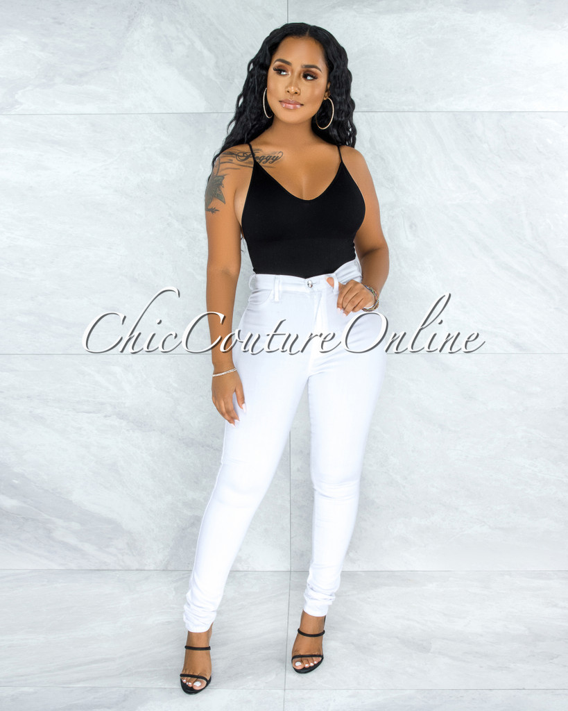 Chelsea White Denim High-Waist Skinny Jeans