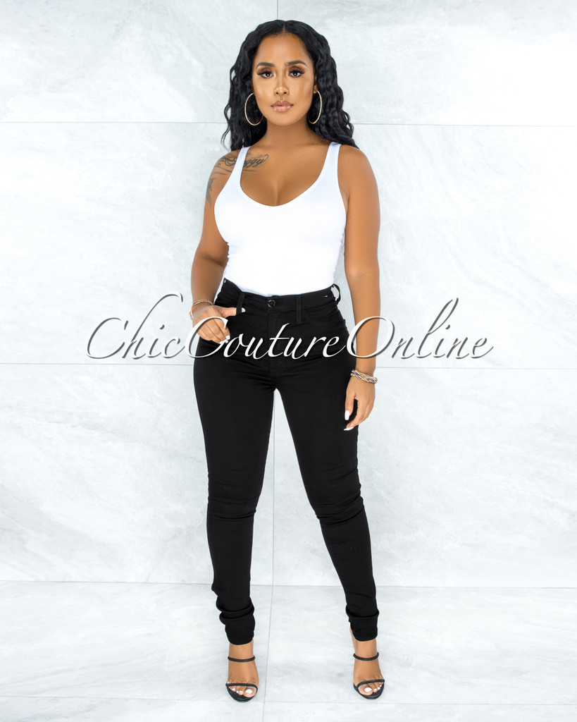 Chelsea Black Denim High-Waist Skinny Jeans