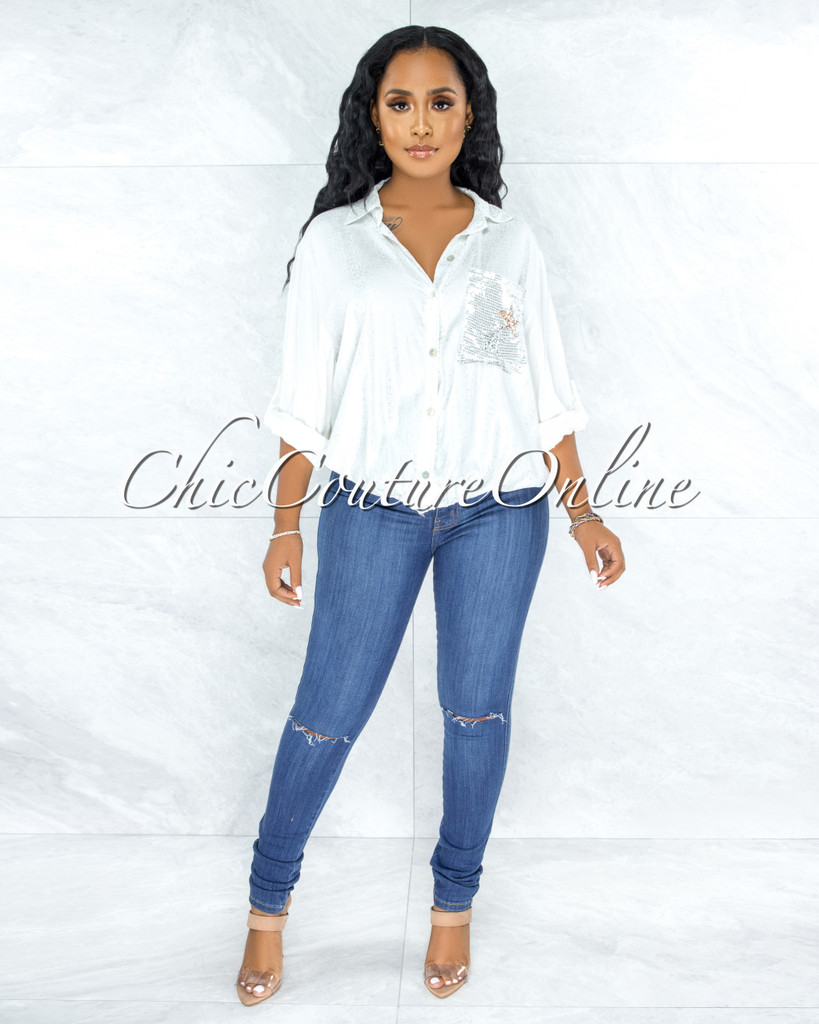 Connery Medium Blue Denim Cut-Out Knees Jeans