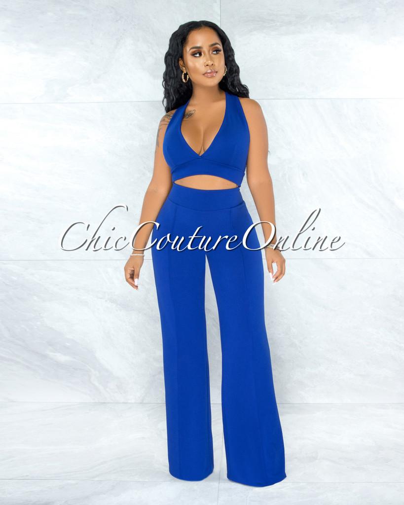 Davian Royal Blue Crop Top Wide Pants Two Piece Set