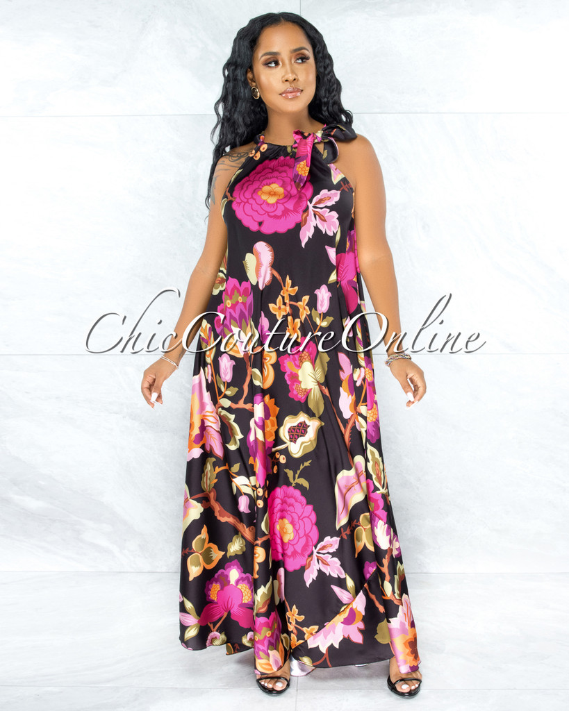Ziona Black Multi-Color Floral Print Neck-Tie Halter Dress