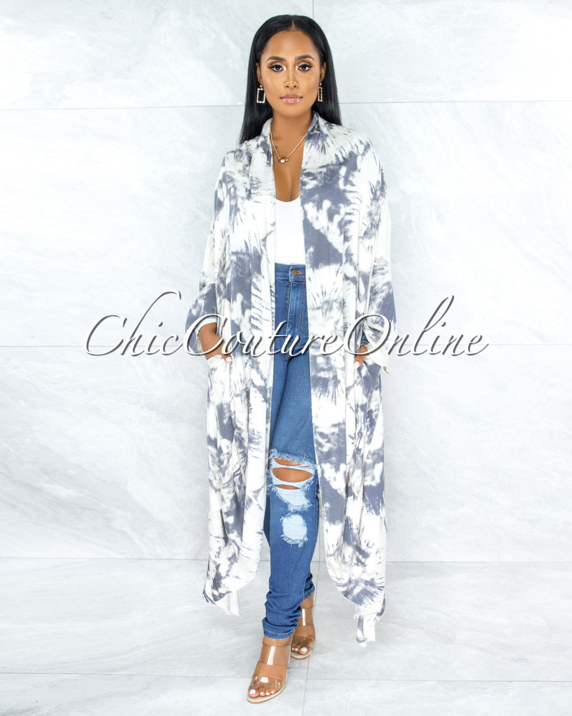 Sarana Cream Grey Tie-Dye Boho Duster