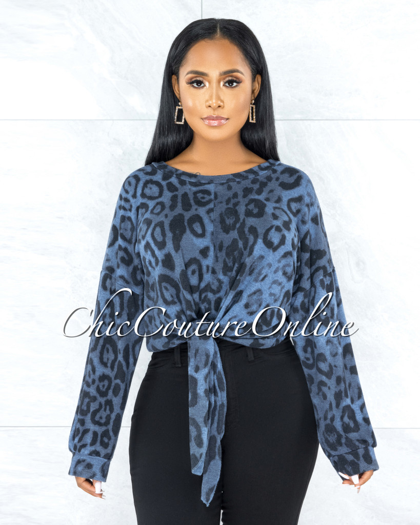 Silvana Blue Leopard Print Front Tie Top