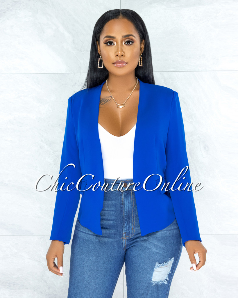 Baurice Royal Blue Padded Shoulders Blazer