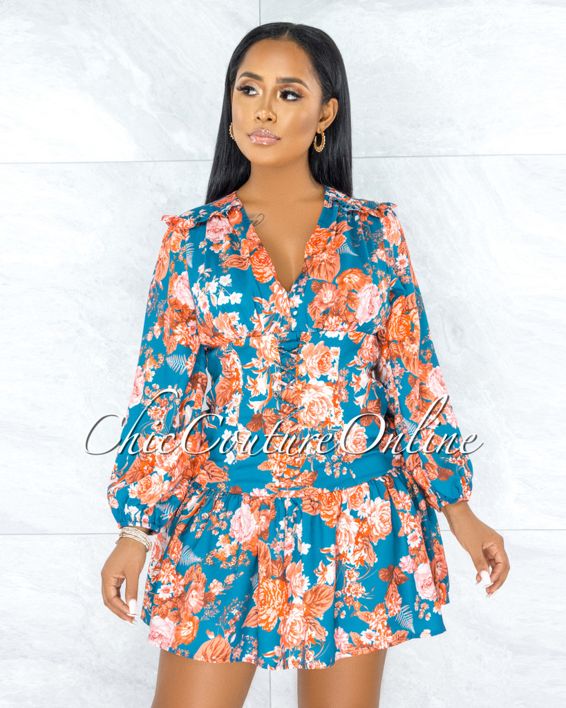 Palesa Teal Orange Floral Print Lace-Up Ruffle Dress