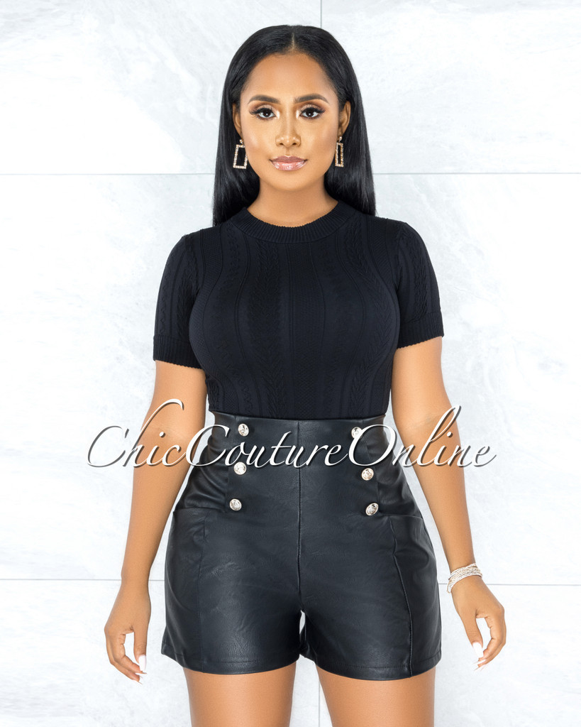 Quanella Black Faux Leather Gold Buttons Shorts