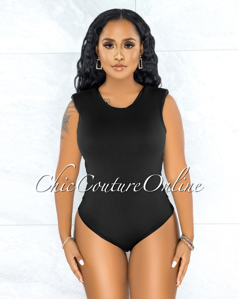 Apria Black Padded Shoulders Bodysuit