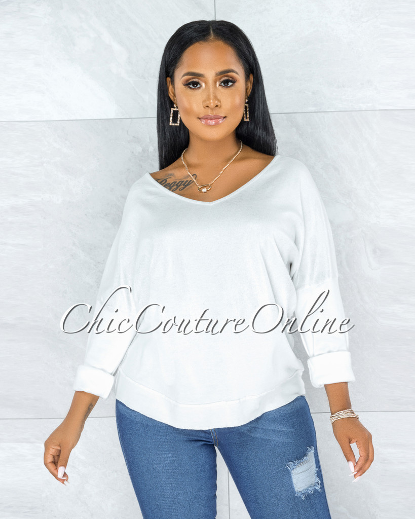 Honora Off-White Silver Shimmer Sweater