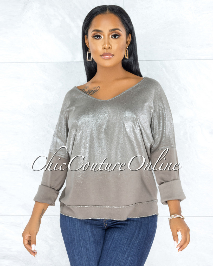 Honora Grey Silver Shimmer Sweater