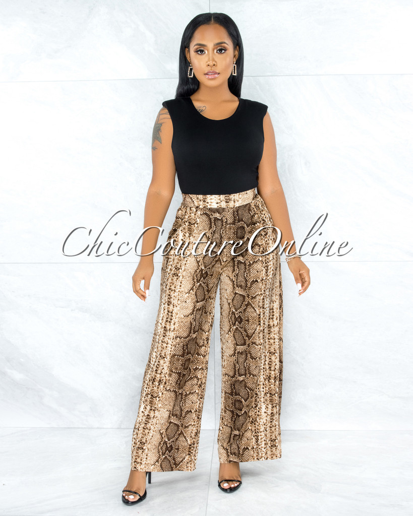Faisal Brown Snake Print Pleated Wide Pants