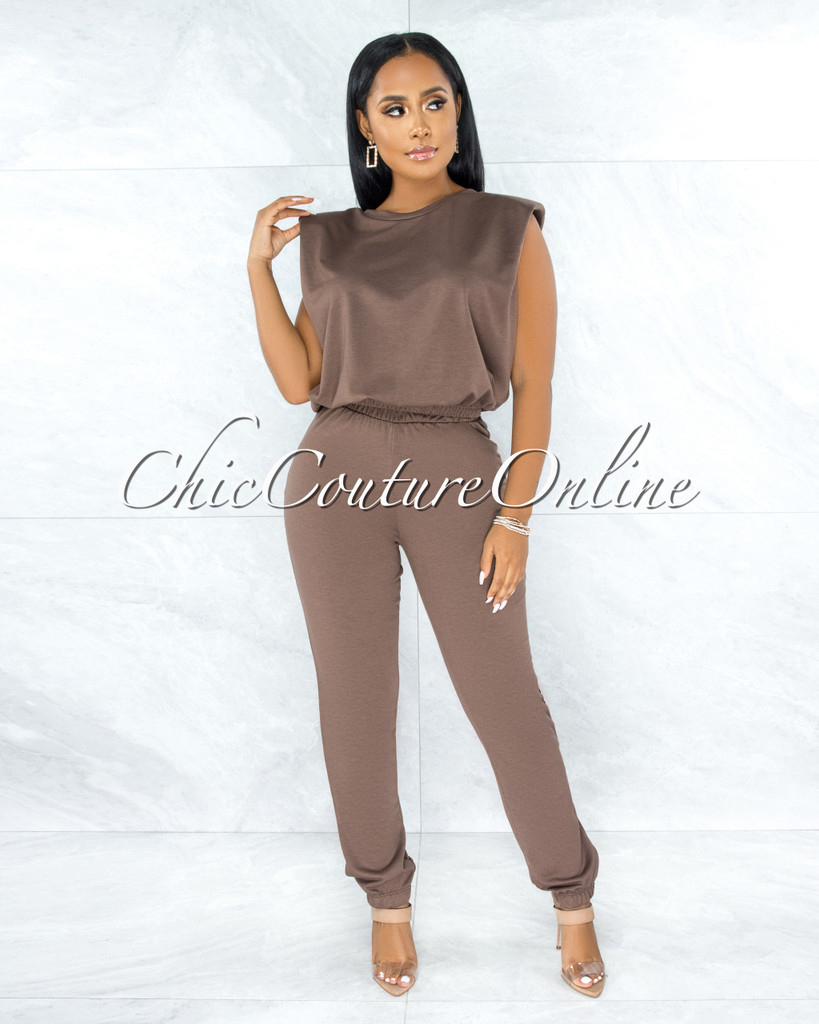 Darva Brown Padded Shoulders Top & Jogger Set