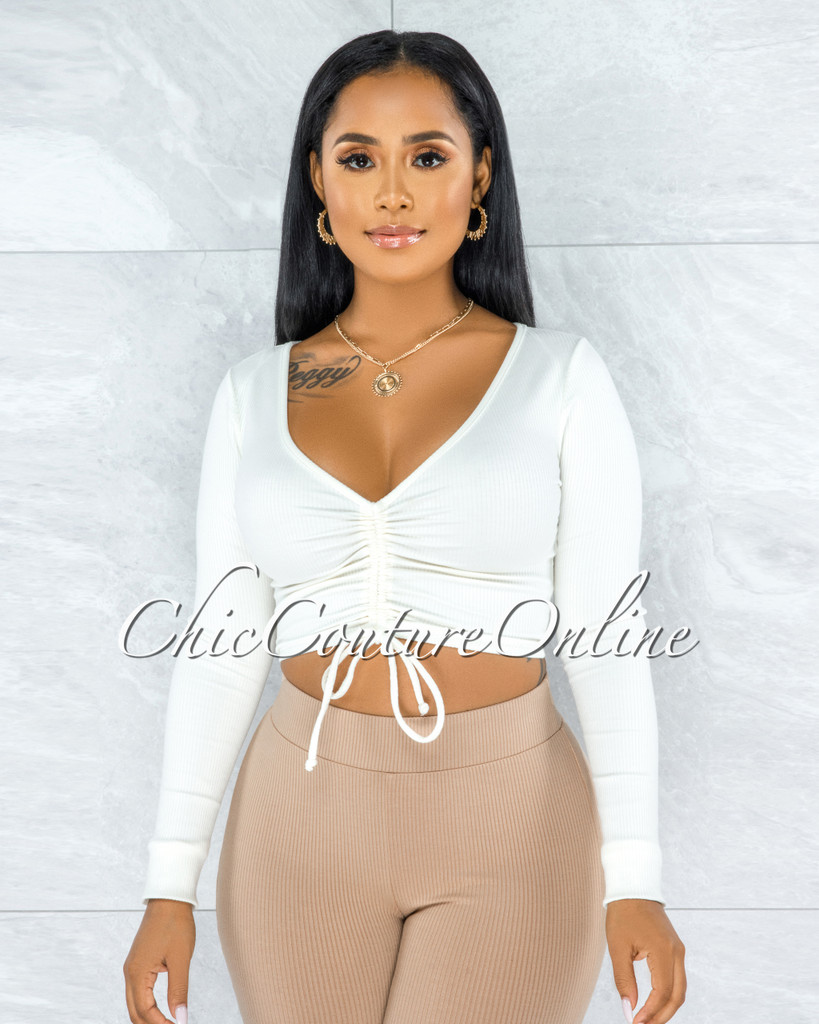 Giovanina Off-White Front Ruched Crop Top